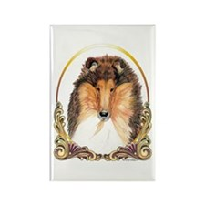 Collie Christmas/Holiday Gold Rectangle Magnet (10