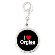 Orgies Silver Round Charm