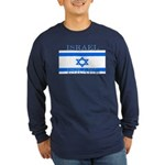 Israel Israeli Flag Long Sleeve Blue T-Shirt