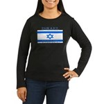 Israel Israeli Flag Womens Long Sleeve Black Shirt