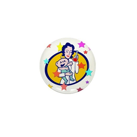 Mum with baby and Stars Mini Button (100 pack)