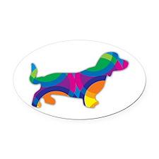 Cute Sausage dog Oval Car Magnet