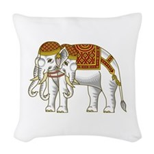 Thai Erawan White Elephant Woven Throw Pillow