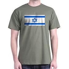 Israel Jewish Flag Military Green T-Shirt