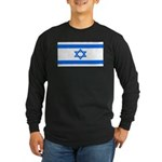 Israel Jewish Flag Long Sleeve Black T-Shirt