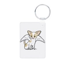 Norman Chihuahua Angel Aluminum Photo Keychain