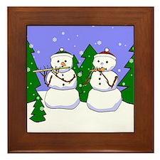 Flute & Piccolo Snowmen Framed Tile