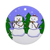 Flute &amp; Piccolo Snowmen Ornament (Round)