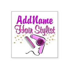 "FOXY HAIR STYLIST Square Sticker 3"" x 3"""