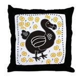 Black dodo Throw Pillow