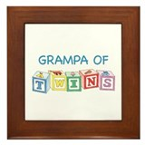 Grampa of Twins Blocks Framed Tile