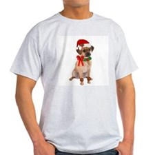 Christmas Puggle Ash Grey T-Shirt