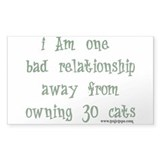 One Bad Relationship Away Rectangle Decal