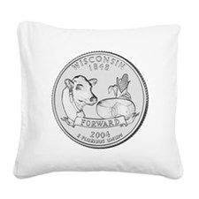 Wisconsin State Quarter Square Canvas Pillow