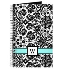 Aqua Black White Damask Monogram Journal