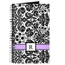 Purple Black White Damask Monogram Journal