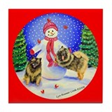 Keeshond Dog Tile Coaster