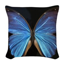 Elegant Blue Butterfly Woven Throw Pillow