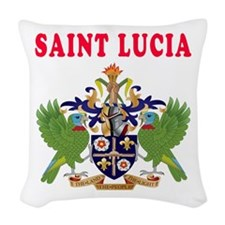Saint Lucia Coat Of Arms Designs Woven Throw Pillo