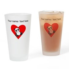 Custom Panda Sitting Down Heart Drinking Glass
