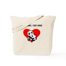 Custom Panda Baby And Mother Heart Tote Bag