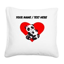 Custom Panda Baby And Mother Heart Square Canvas P