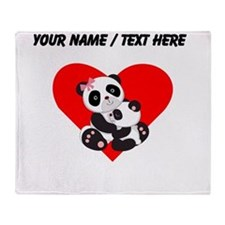 Custom Panda Baby And Mother Heart Throw Blanket