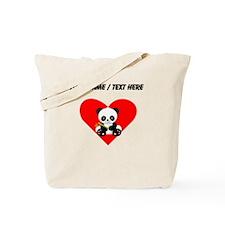 Custom Panda With Bamboo Heart Tote Bag