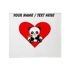 Custom Panda With Bamboo Heart Throw Blanket