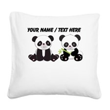 Custom Cute Pandas Square Canvas Pillow