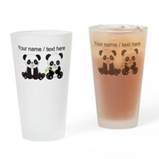 Custom Cute Pandas Drinking Glass