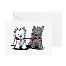 Terrier Walking Buddies Greeting Cards (Pk of 20)