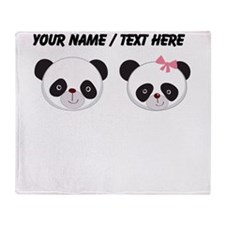 Custom Panda Boy And Girl Throw Blanket