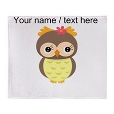 Custom Cartoon Owl Throw Blanket