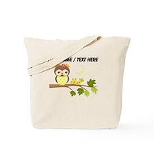 Custom Cartoon Owl on Branch Tote Bag