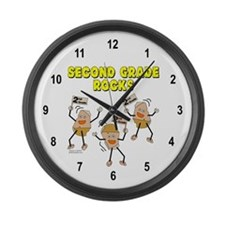 Second Grade Rocks Large Wall Clock