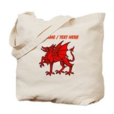 Custom Red Dragon Statue Tote Bag