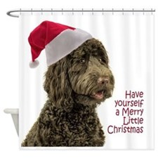 Santa Labradoodle Shower Curtain
