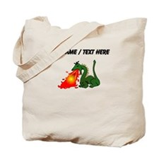 Custom Green Dragon Blowing Fire Tote Bag