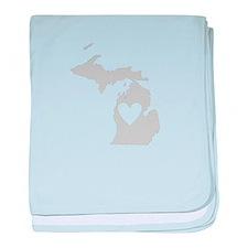 Heart Michigan baby blanket