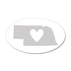 Heart Nebraska 20x12 Oval Wall Decal