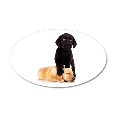 Labrador Playmates 35x21 Oval Wall Decal