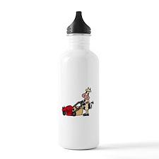 Cow Pushing Lawn Mower Water Bottle