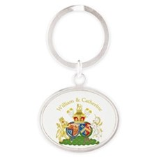 William and Catherine Coat of Arms Oval Keychain