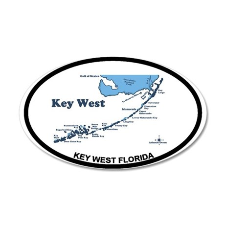 Key West - Map Design. 20x12 Oval Wall Decal