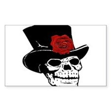 Skull with top hat and red Rose Decal