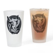 Distressed Wild Rhino Stamp Drinking Glass
