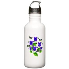 Violets and Butterflies Water Bottle