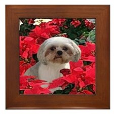 Shih Tzu Christmas Poinsettia Audrey Framed Tile