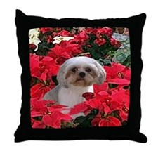Shih Tzu Christmas Poinsettia Audrey Throw Pillow